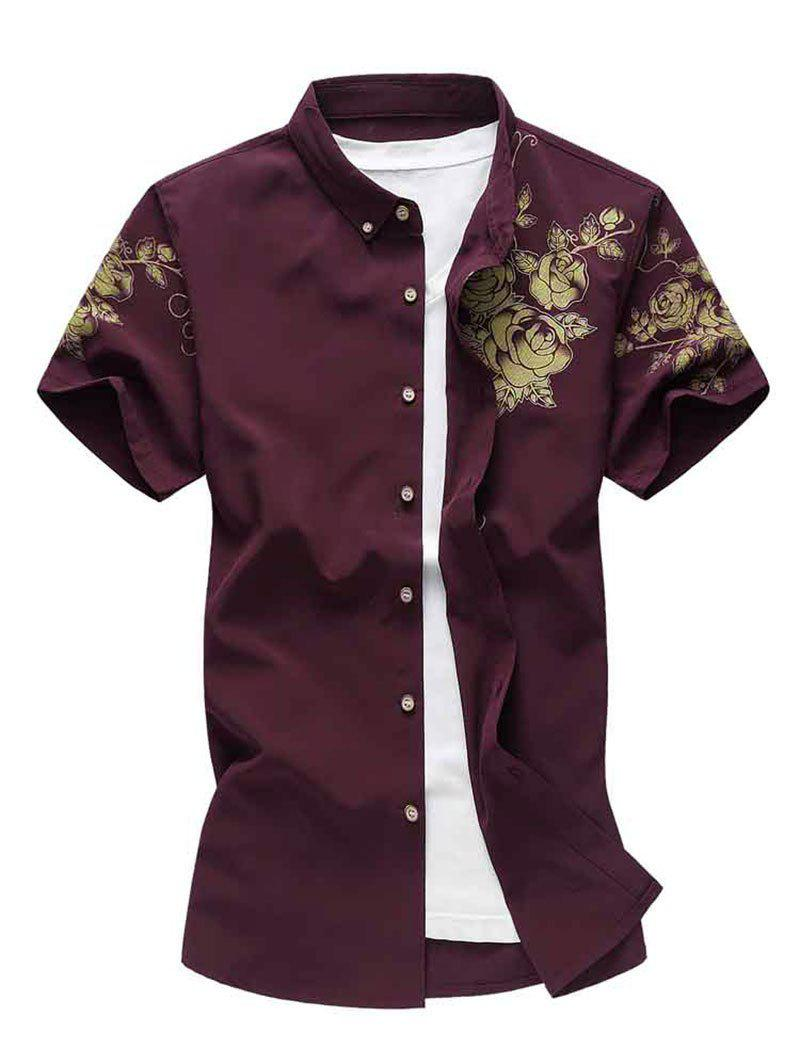 Flower Print Short Sleeve Button Down Shirt - RED WINE 2XL