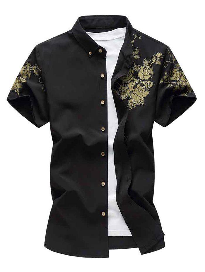 Flower Print Short Sleeve Button Down Shirt - BLACK 2XL
