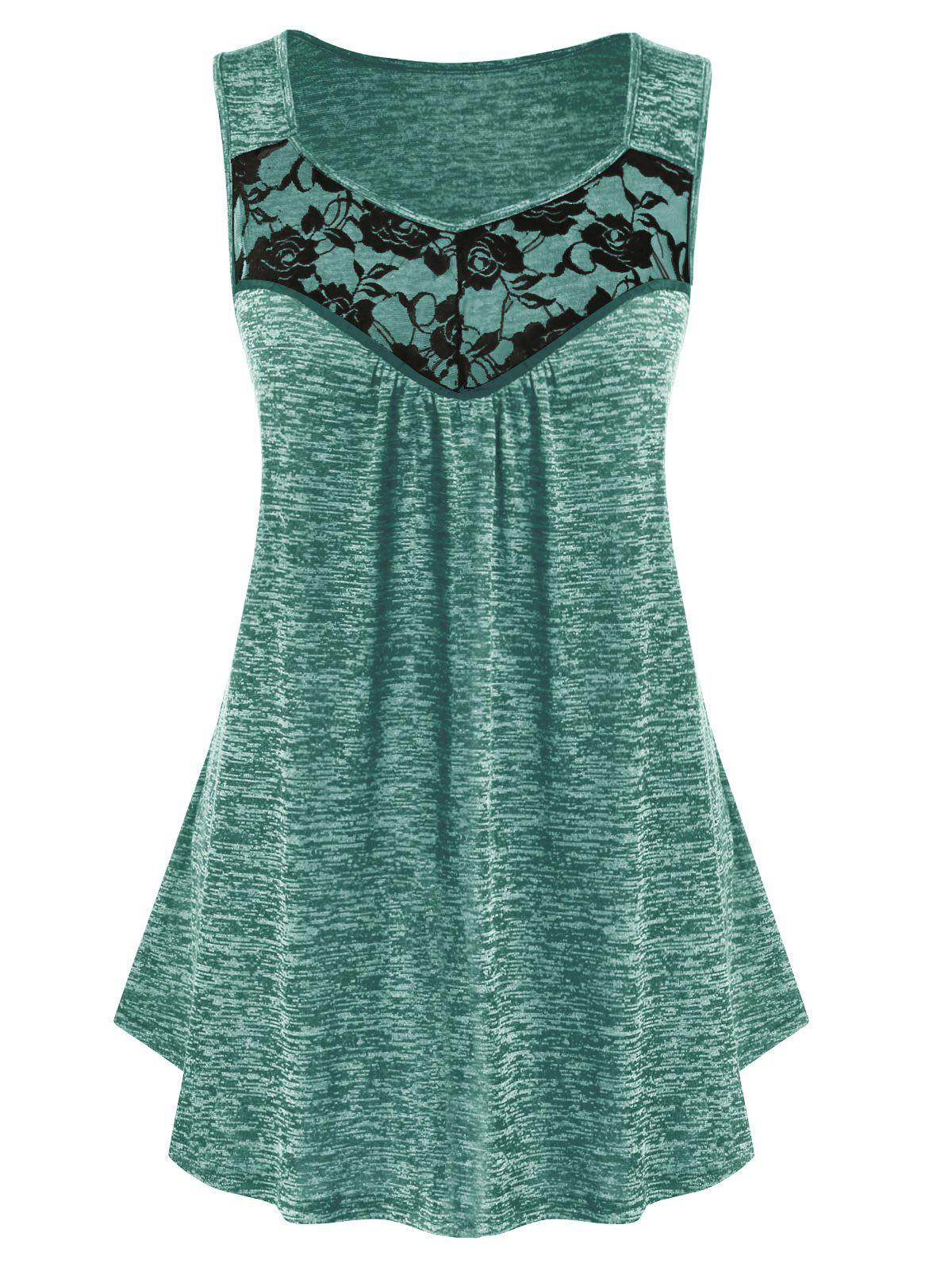 Plus Size Lace Insert Sweetheart Collar Marled Tank Top - BLUE HOSTA L