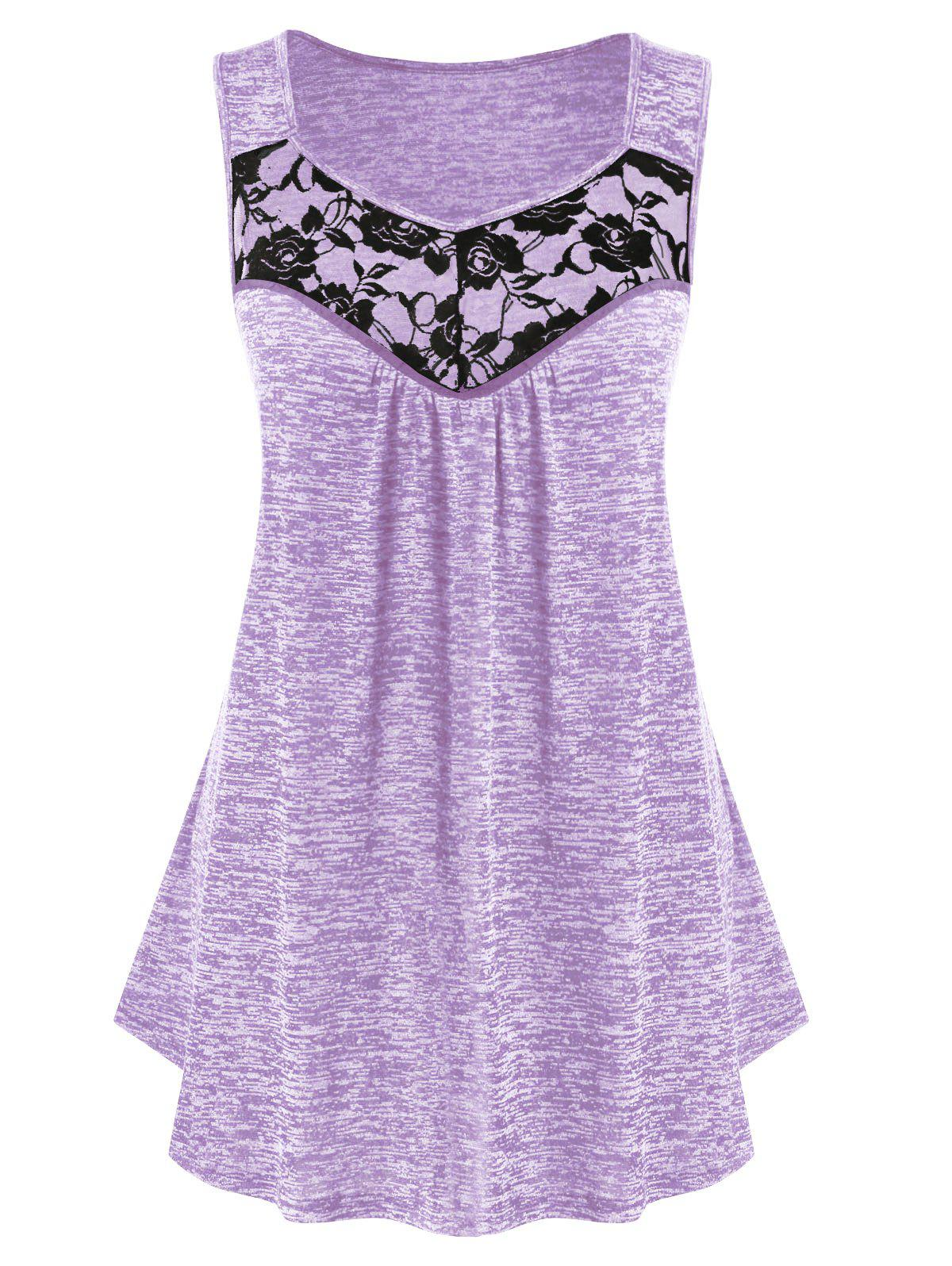 Plus Size Lace Insert Sweetheart Collar Marled Tank Top - MAUVE 2X
