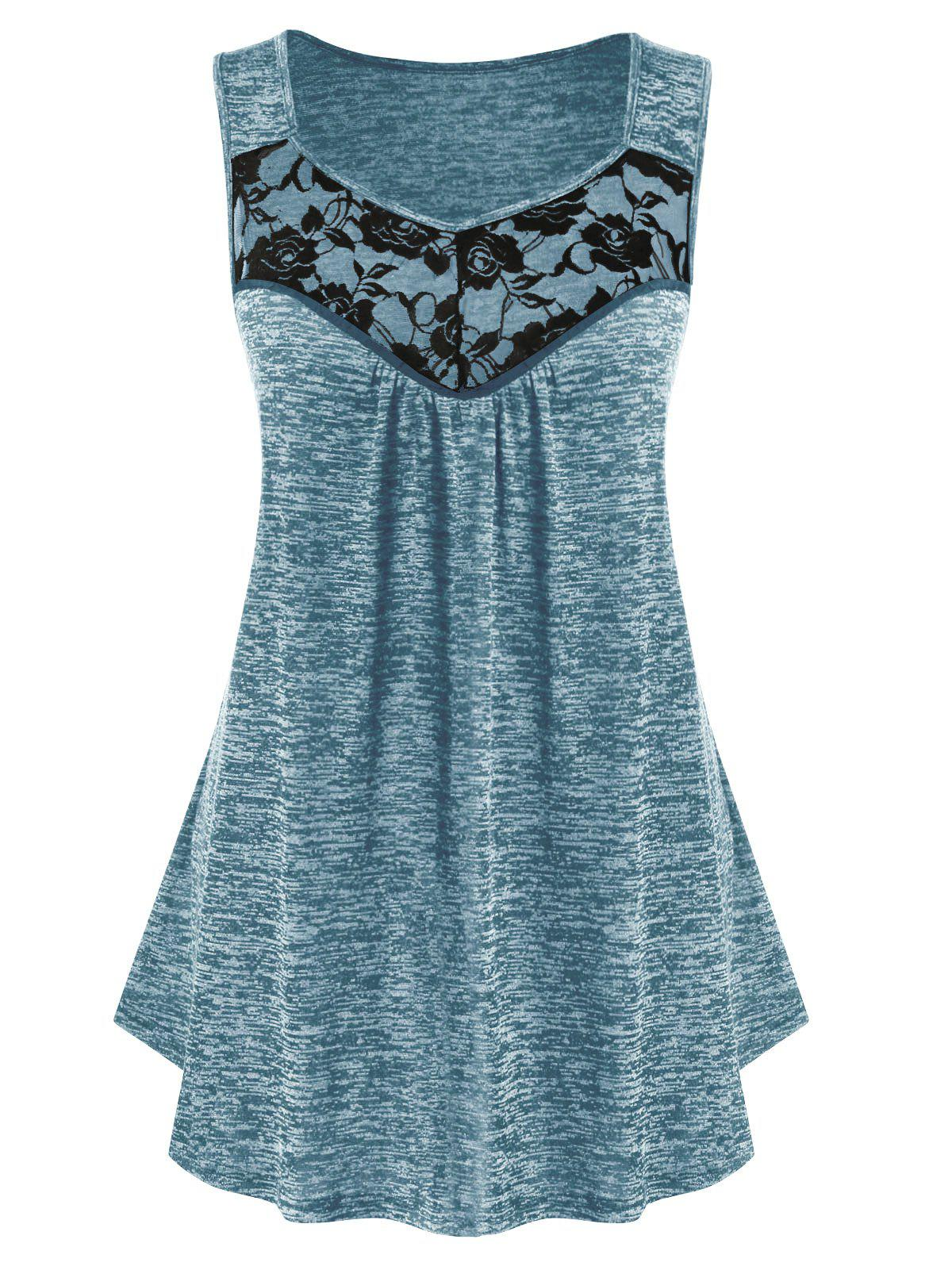 Plus Size Lace Insert Sweetheart Collar Marled Tank Top - BLUE GRAY 1X