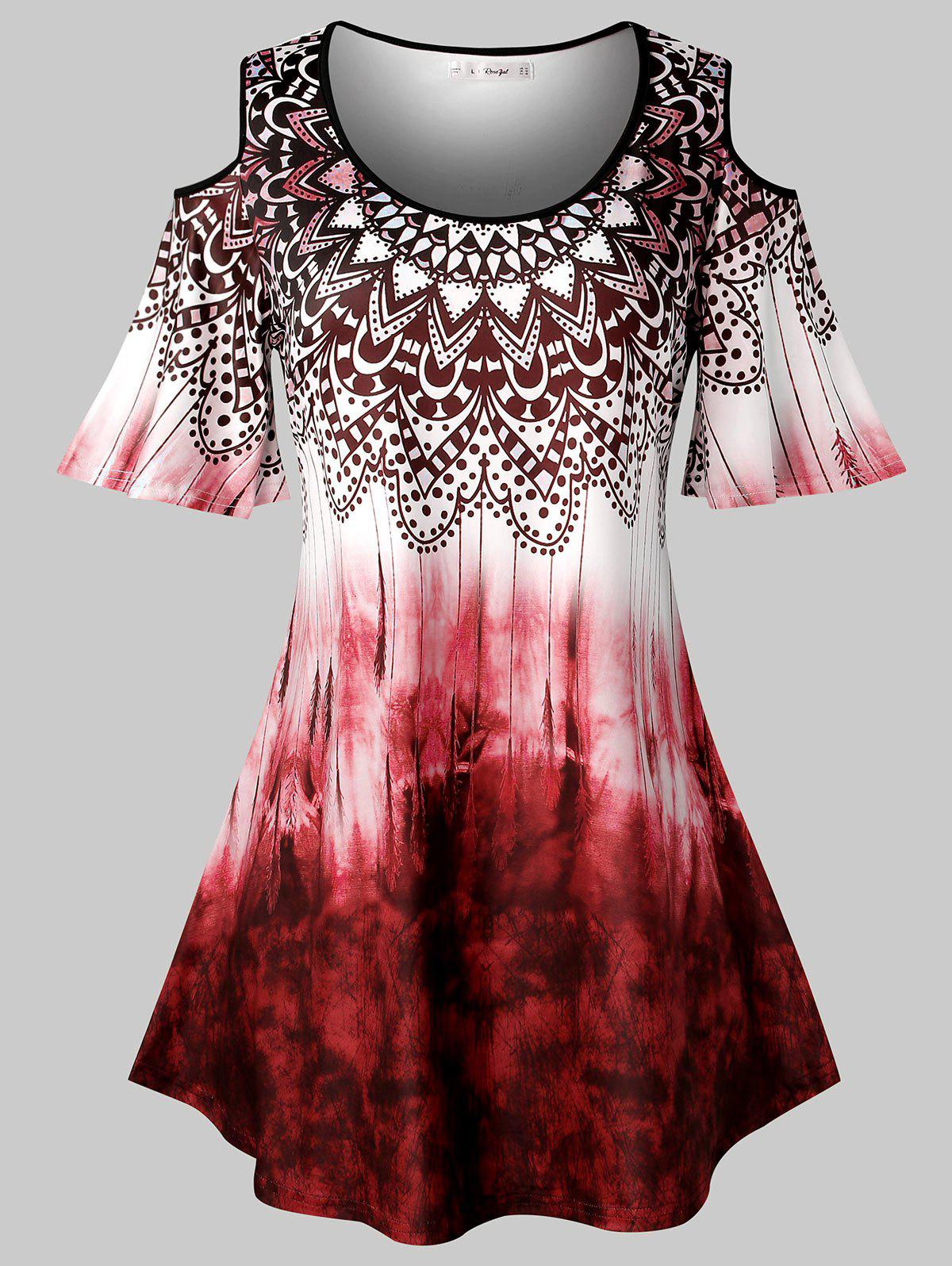 Plus Size Tribal Print Tie Dye Cold Shoulder T Shirt - CHERRY RED 5X