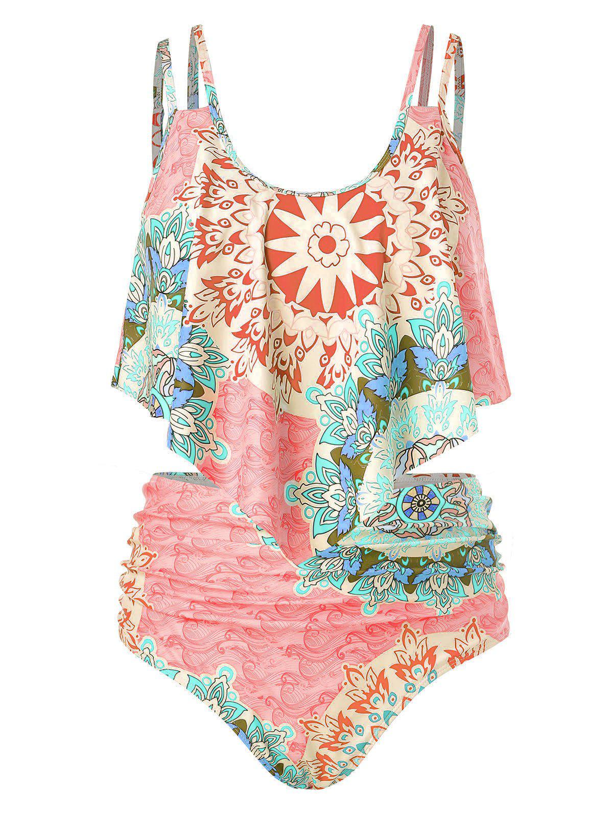 Plus Size Printed Cami Tankini Swimsuit - LIGHT PINK 5X