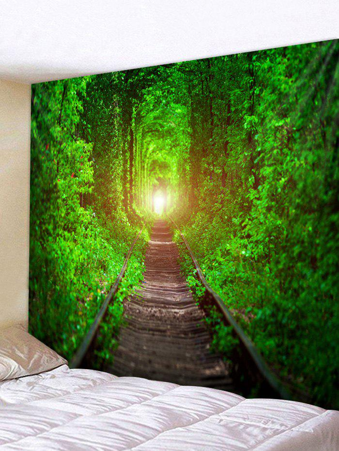 Forest Railway Track Print Tapestry Wall Hanging Art Decoration - multicolor W91 X L71 INCH