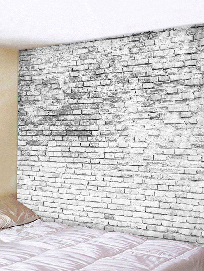 Brick Wall Print Tapestry Wall Hanging Decor - CRYSTAL CREAM W59 X L51 INCH