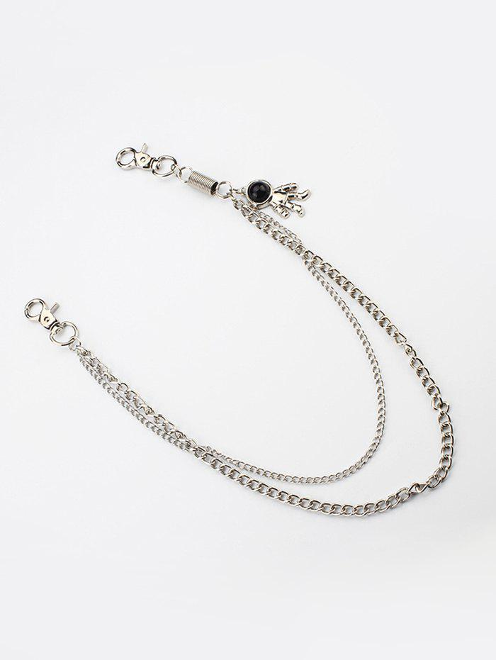 Astronaut Pendant Trousers Hanging Waist Chain - SILVER