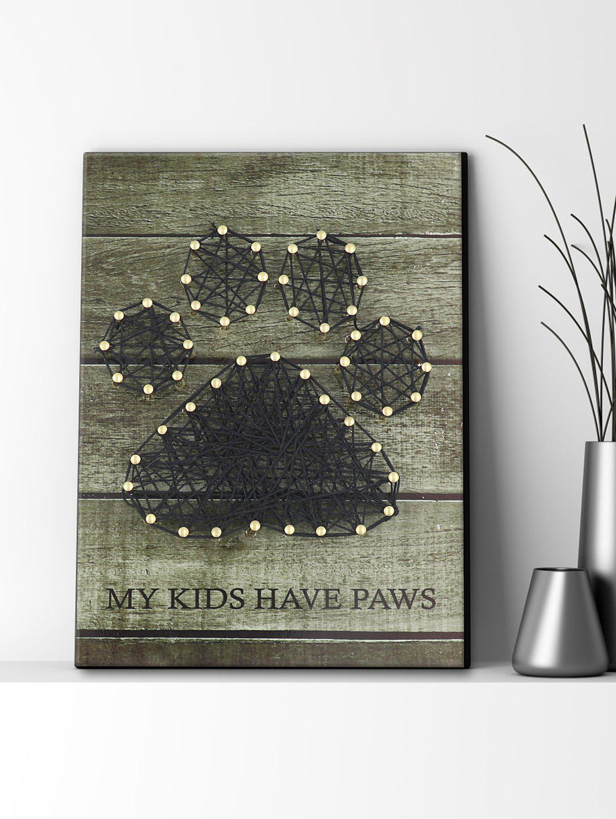 Paw Pattern Nails and Rope Decorative DIY Frame Painting - multicolor A