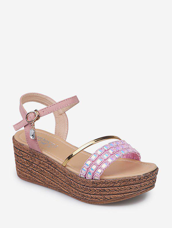 Strap With Rhinestone Wedge Sandals - LIGHT PINK EU 39