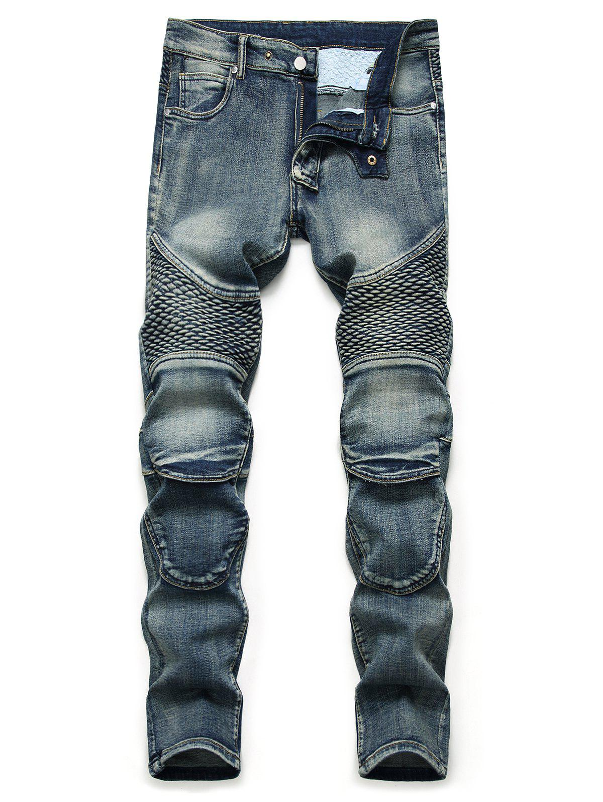 Light Wash Multi Pockets Tapered Jeans - DENIM DARK BLUE 38