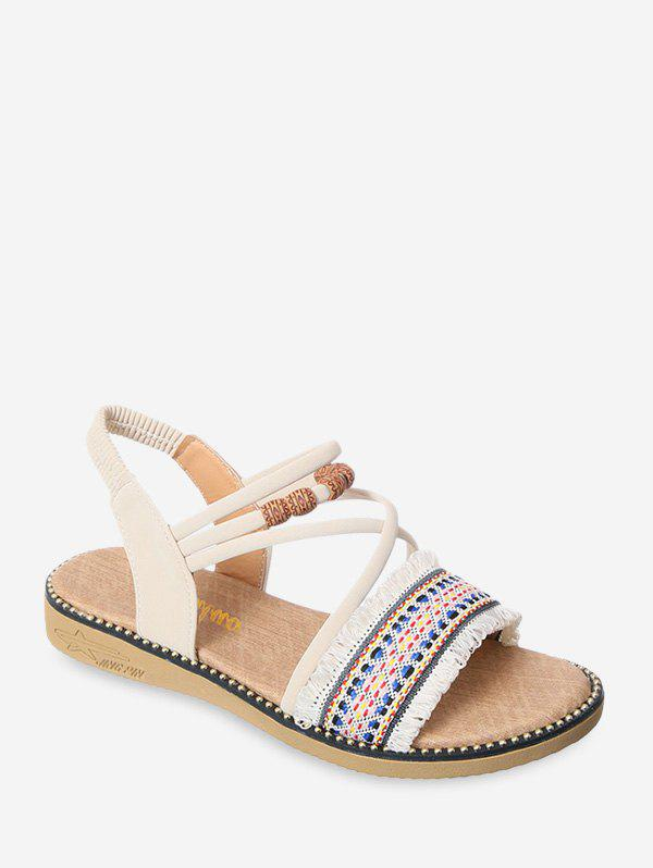 Ethnic Style Embroidery Embellish Flat Sandals - BEIGE EU 38