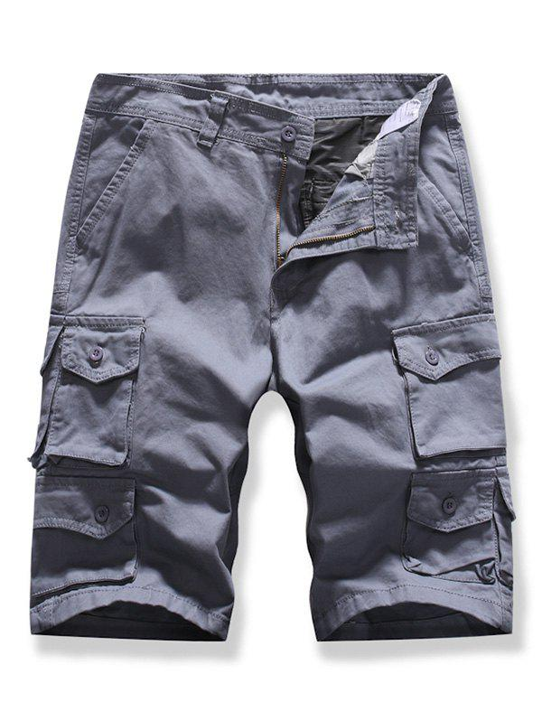 Letter Patched Multi-pocket Cargo Shorts - GRAY 36