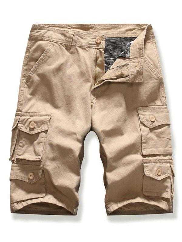 Letter Patched Multi-pocket Cargo Shorts - KHAKI 34