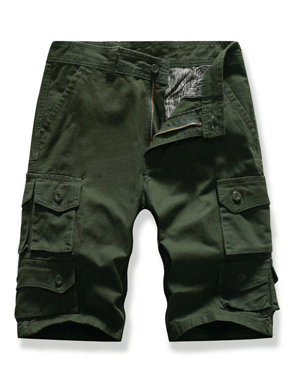Letter Patched Multi-pocket Cargo Shorts - ARMY GREEN 34