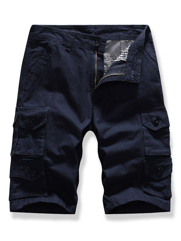 Letter Patched Multi-pocket Cargo Shorts - DEEP BLUE 36