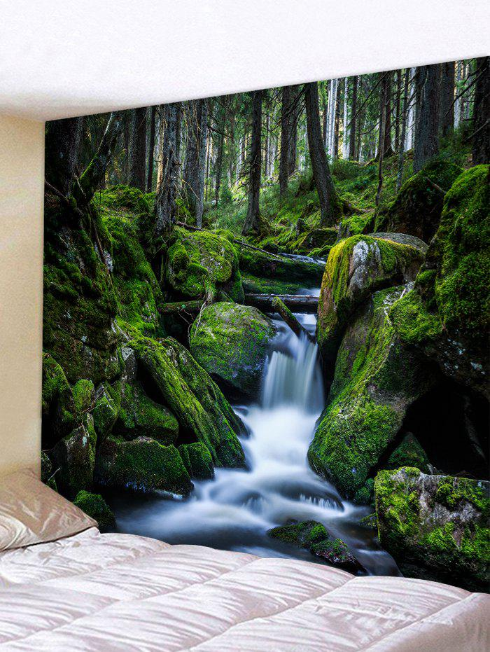 Forest Stream Waterfall Print Tapestry Wall Hanging Art Decor - multicolor W91 X L71 INCH