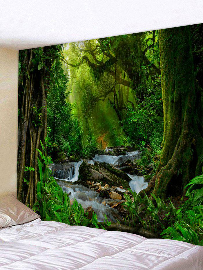 Sunshine Forest River Print Tapestry Wall Hanging Art Decoration - multicolor W59 X L51 INCH