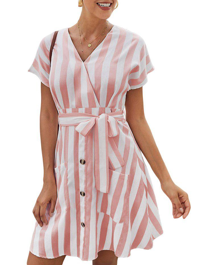 Stripe Mini A Line Dress - PINK S