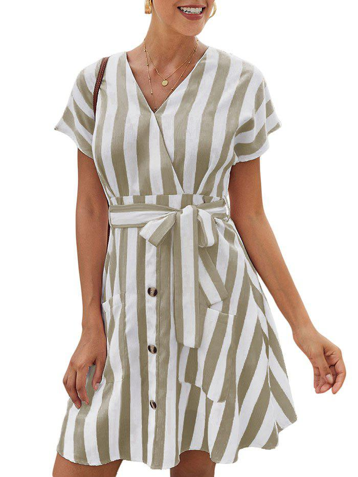 Stripe Mini A Line Dress - KHAKI XL
