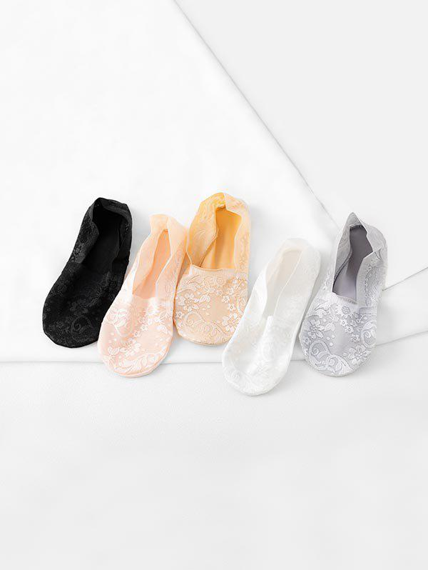 5Pairs Flower Lace Anti-skid Invisible Socks Set - multicolor A
