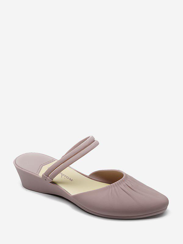 Solid Color Pointed Toe Wedge Heel Sandals - LIGHT PINK EU 40