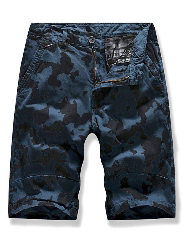 Camo Multi-pocket Casual Cargo Shorts - BLUE 32