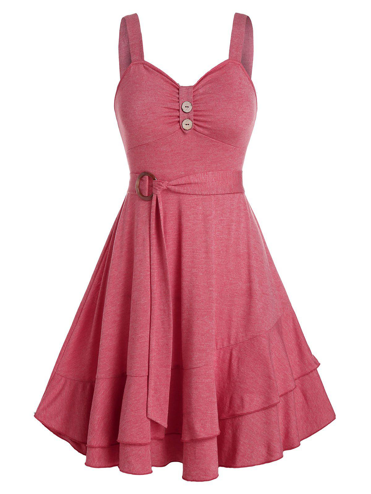Layered Flounce Tied A Line Dress - TULIP PINK 3XL
