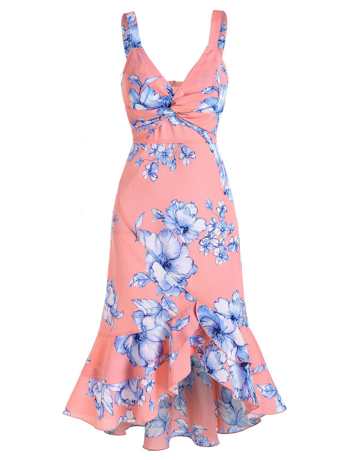 Twisted Floral Print Fishtail Dress - PINK M