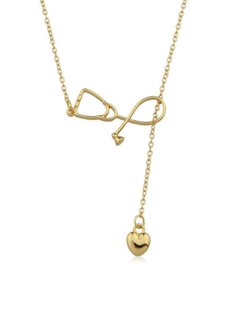 Hollow Stethoscope Shape Heart Lariat Necklace - GOLD