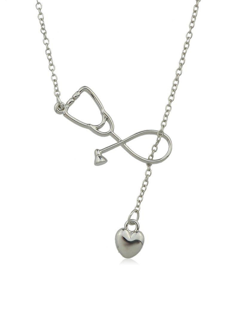 Hollow Stethoscope Shape Heart Lariat Necklace - SILVER