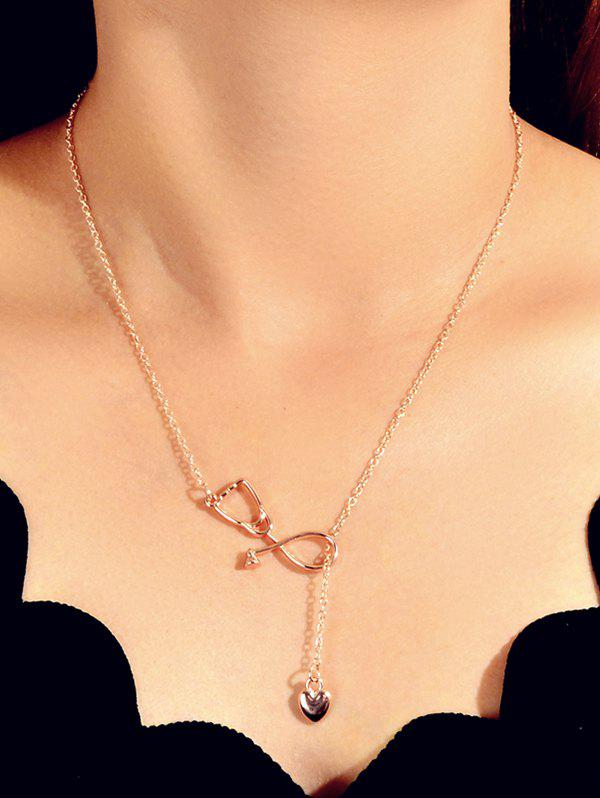 Hollow Stethoscope Shape Heart Lariat Necklace - ROSE GOLD