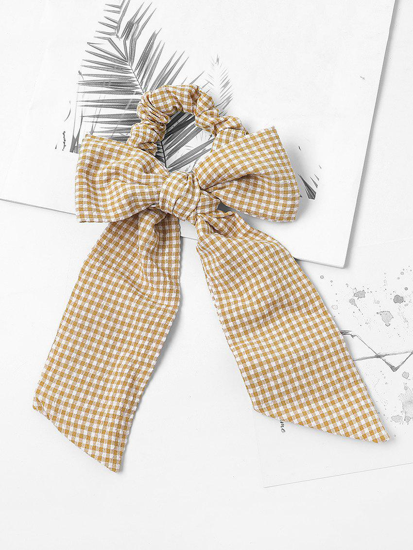 Bowknot Plaid Print Pony Tail Hair Tie - YELLOW