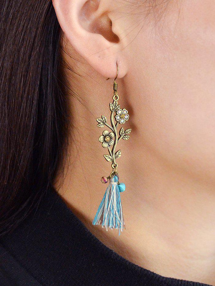 Carved Flower Branch Tassel Drop Earrings - GOLD