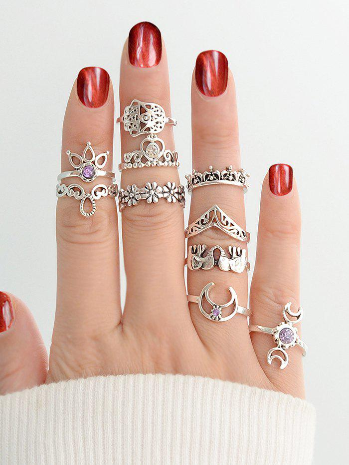 10Pcs Ethnic Hollow Floral Elephant Ring Set - SILVER
