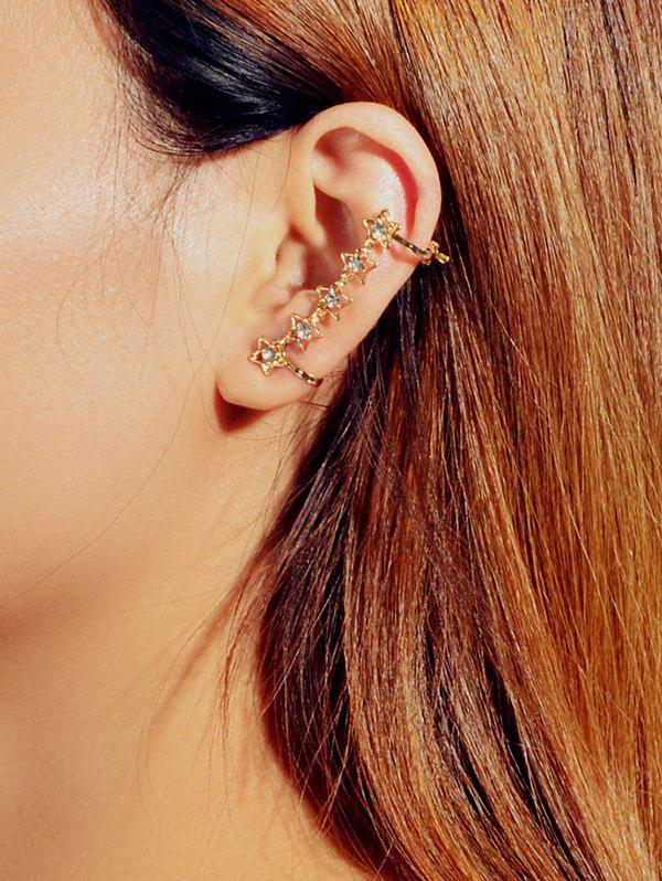 One-piece Hollow Star Rhinestone Ear Cuff - GOLD