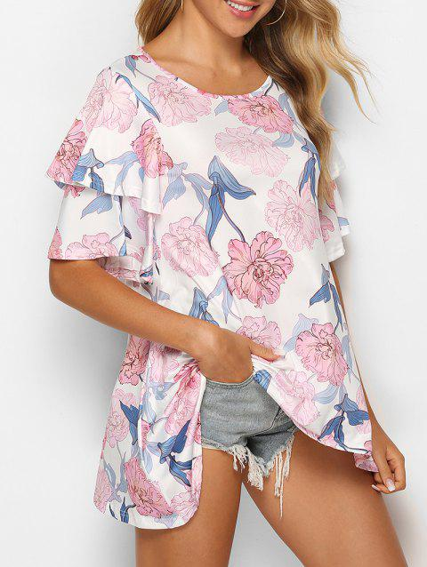 Asymmetric Layered Bell Sleeve Floral Print T Shirt