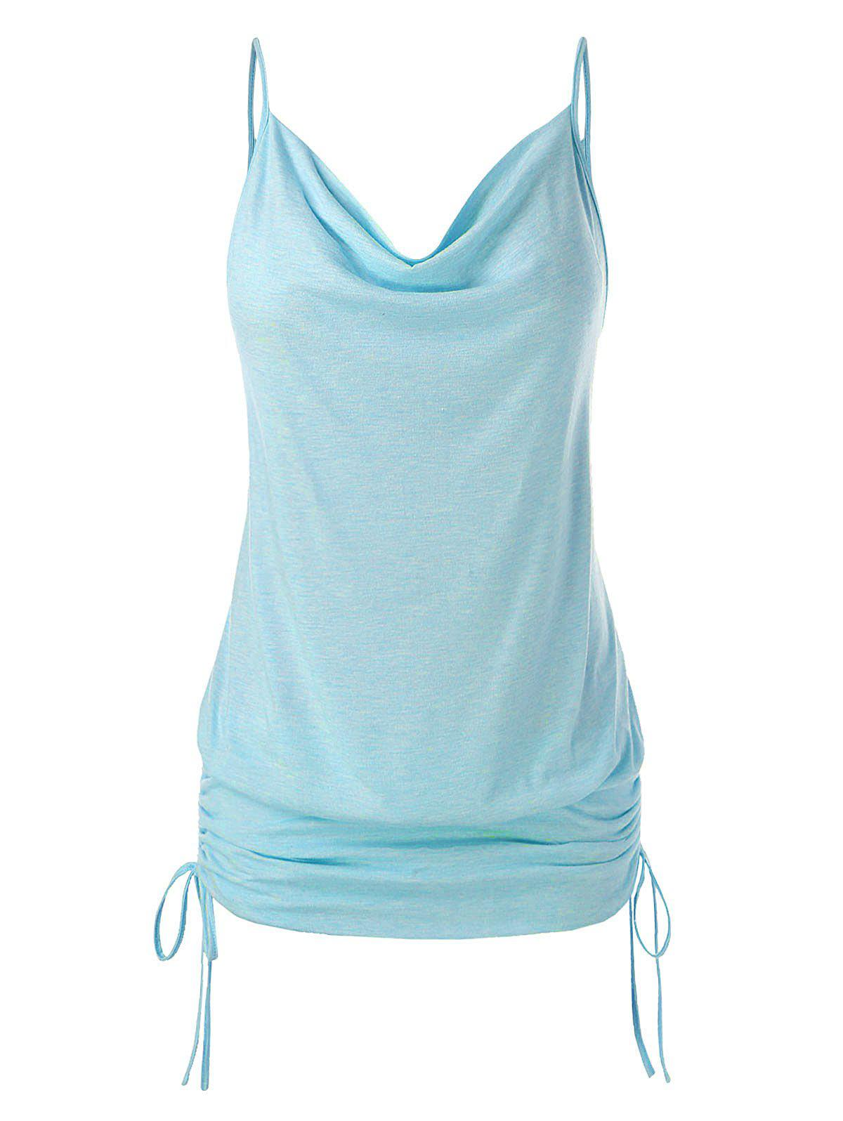 Plus Size Cowl Neck Cinched Cami Top - SEA BLUE L