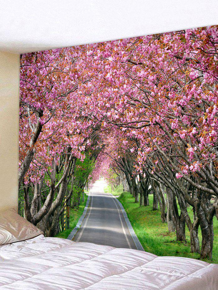 Road Tree Flowers Printed Wall Tapestry - BLUSH RED W91 X L71 INCH