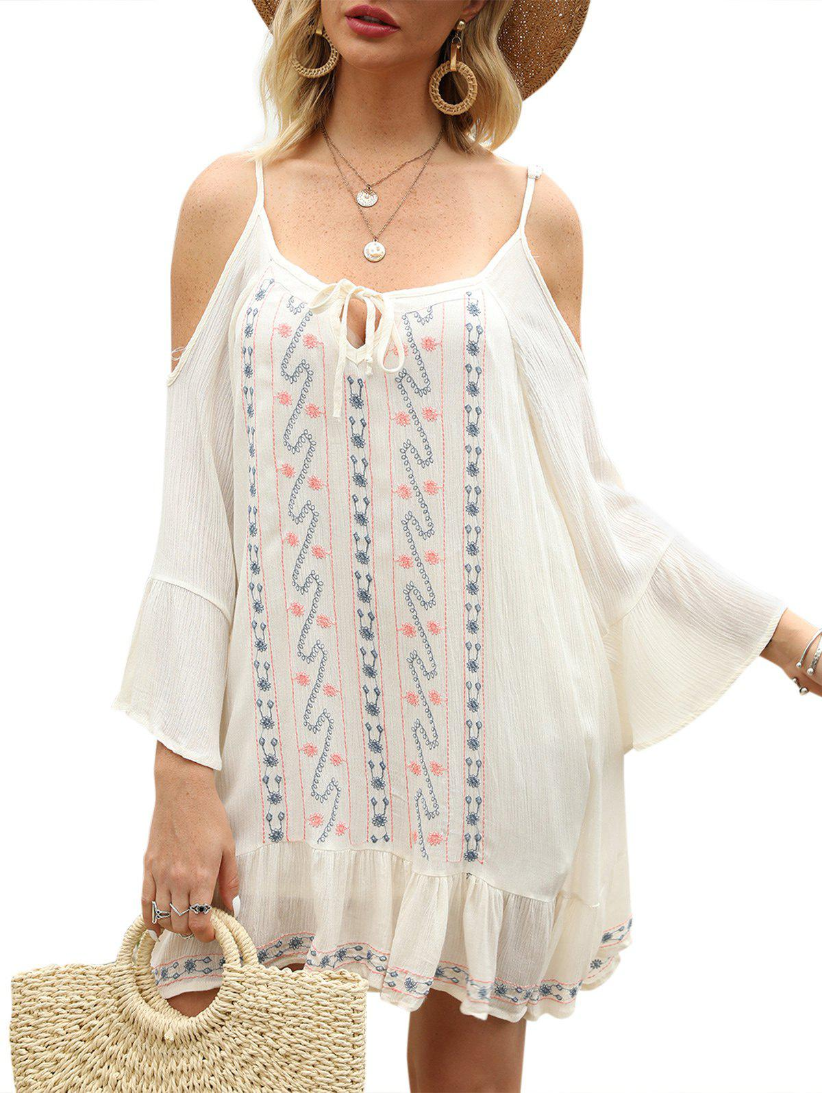 Embroidered Tie Collar Cold Shoulder Tunic Dress - SILK WHITE L