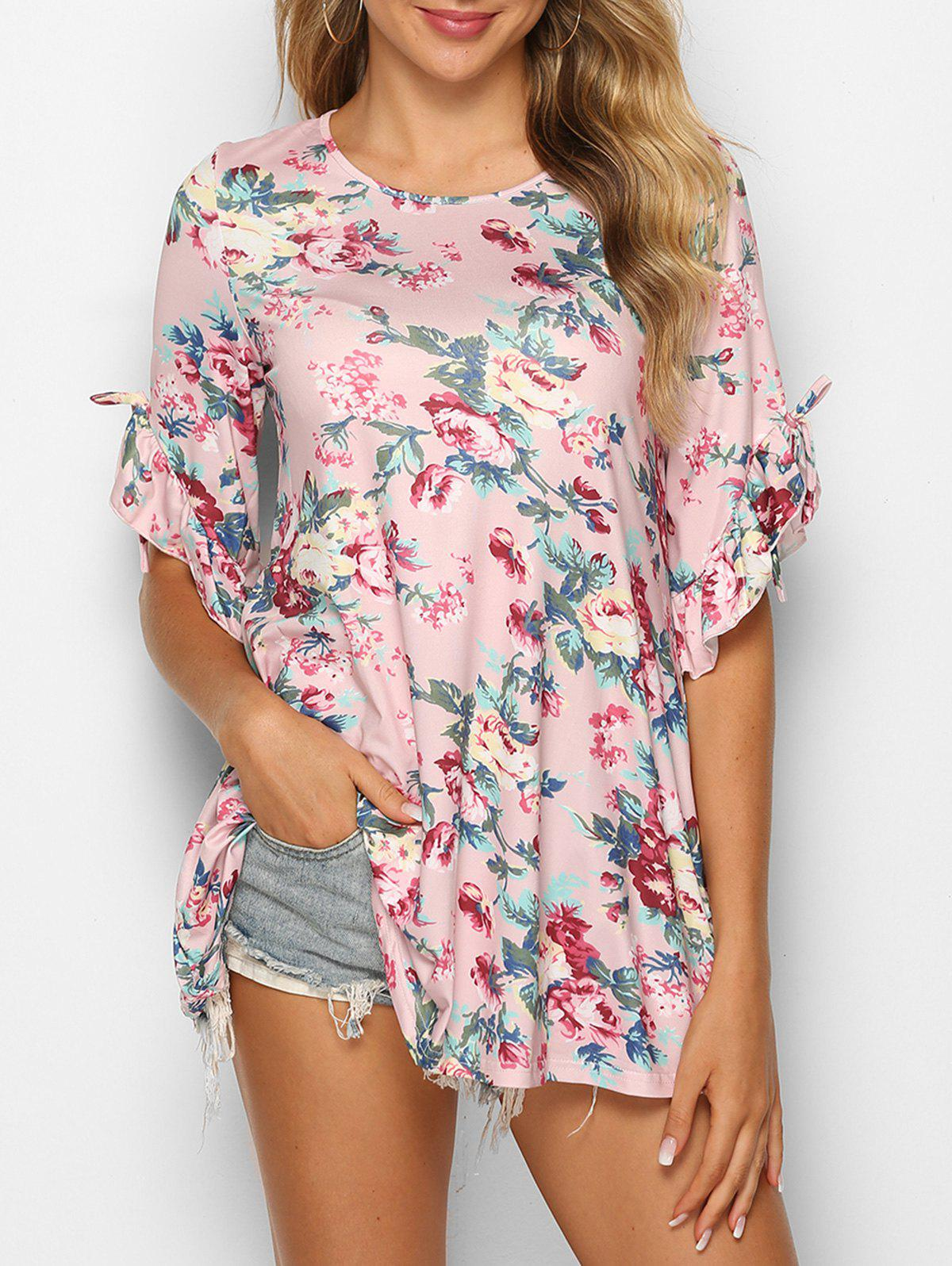 Ruffle Cuff Floral Print T Shirt - PINK ROSE S