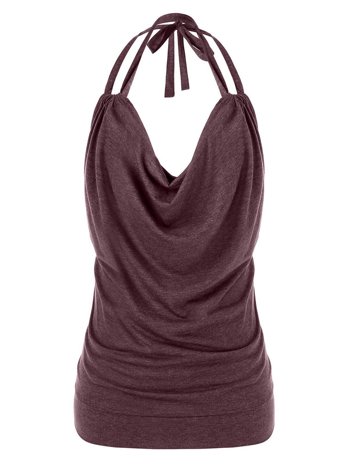 Plus Size Halter Cowl Front Tank Top - RED WINE 5X