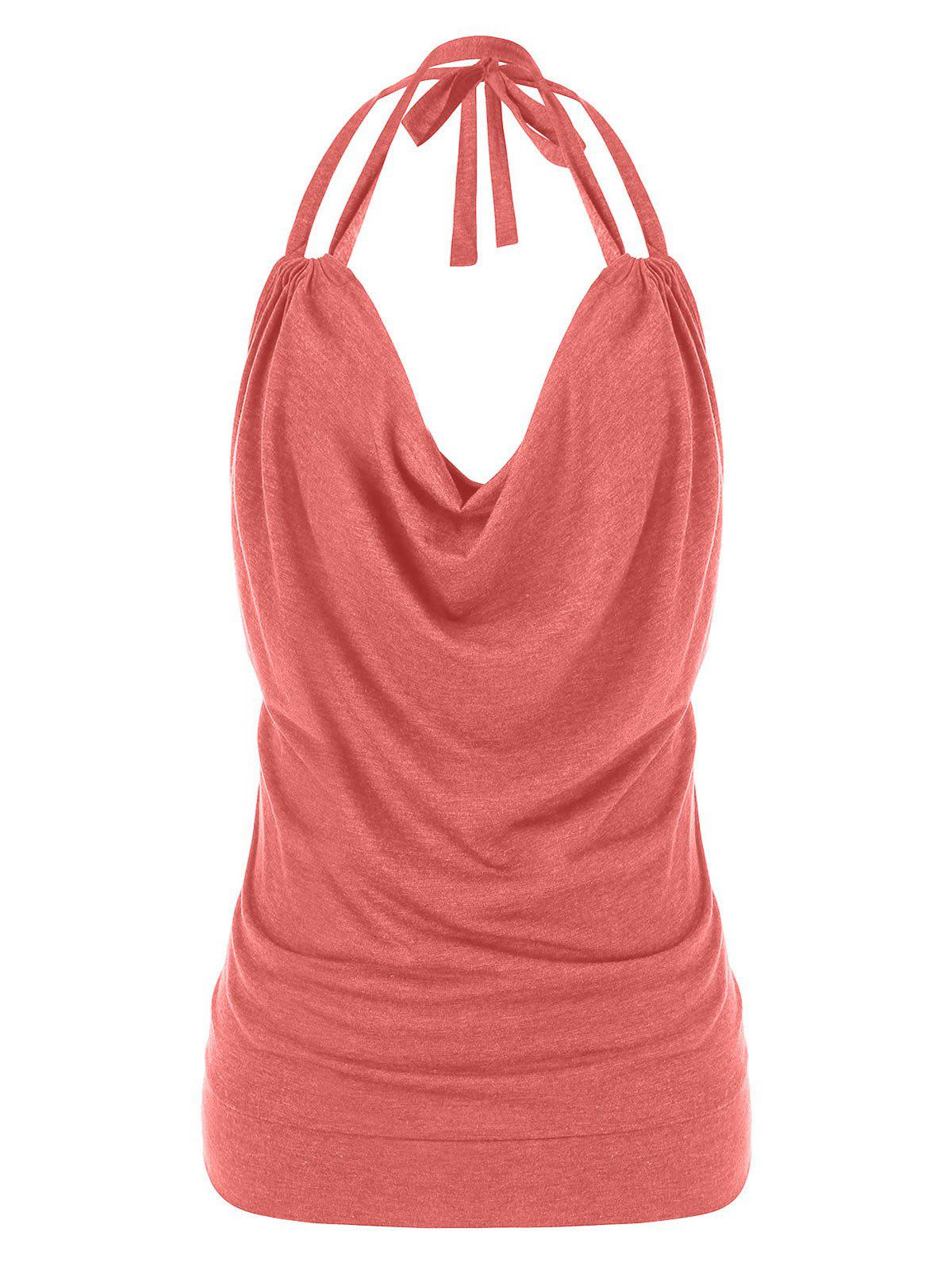 Plus Size Halter Cowl Front Tank Top - LIPSTICK PINK 3X