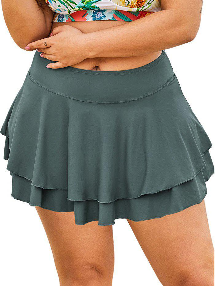 Solid Tiered Skirted Plus Size Swim Bottom - GRAY 3X