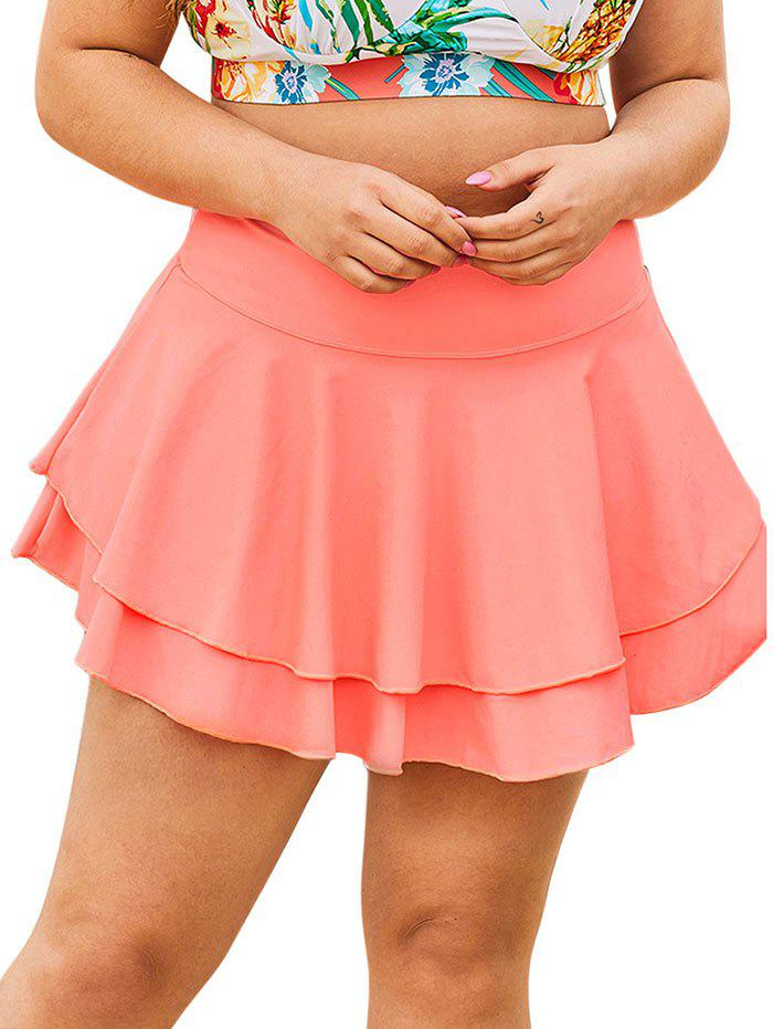Solid Tiered Skirted Plus Size Swim Bottom - PINK 1X