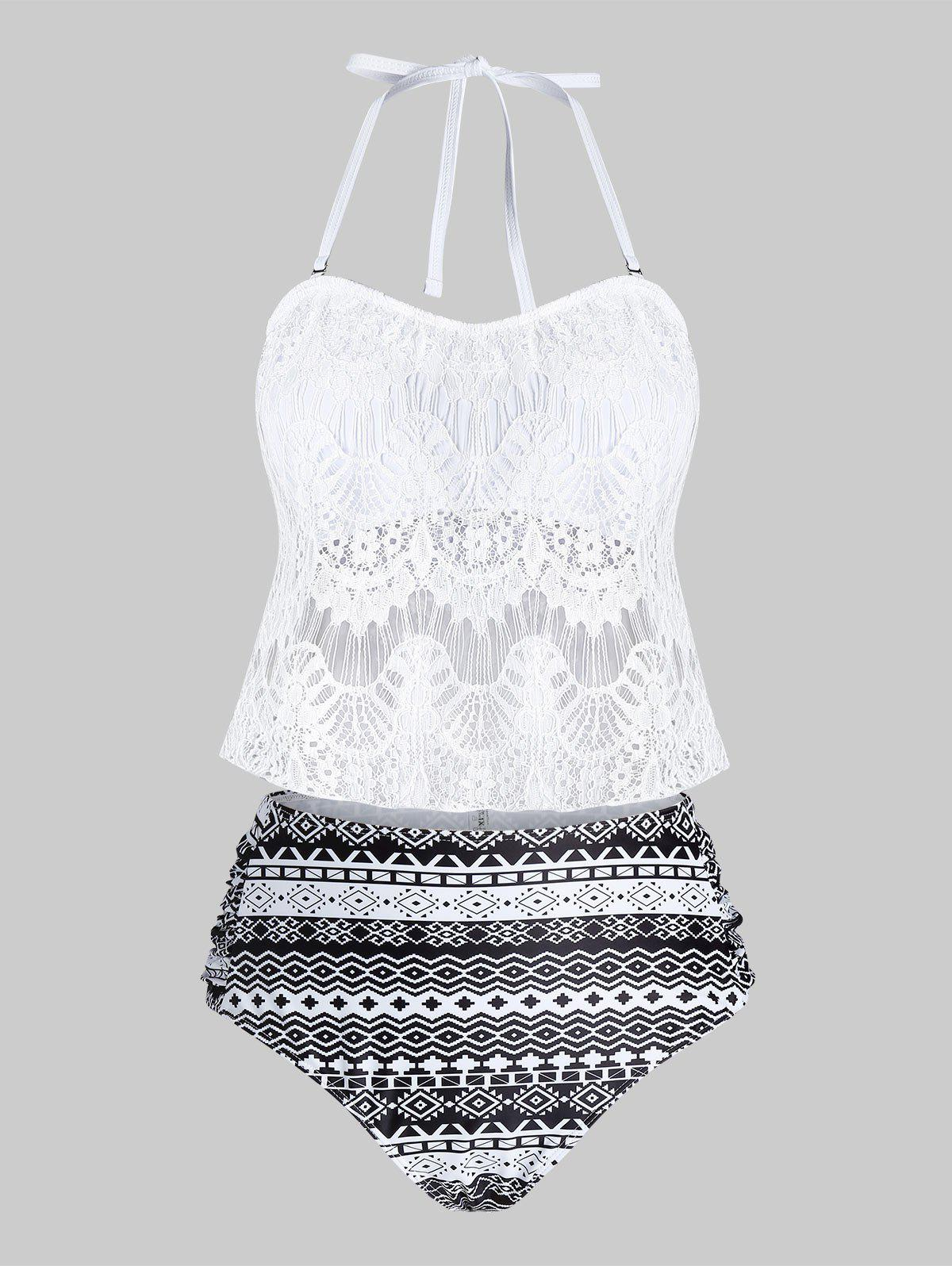 Plus Size Lace Overlay Geometry Tankini Swimwear - WHITE 3X