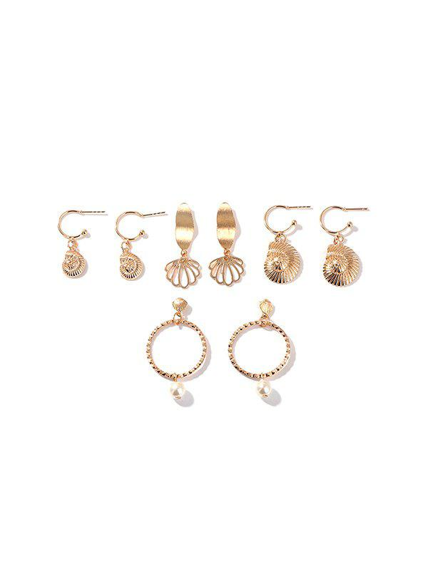 4 Pairs Faux Pearl Hollow Shell Earrings Set - GOLD