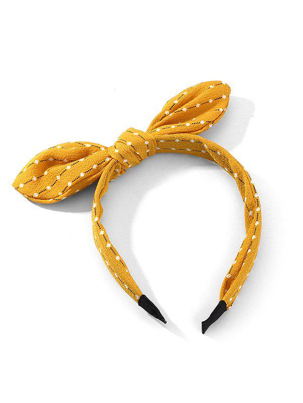 Bowknot Geometric Striped Printed Hairband - YELLOW