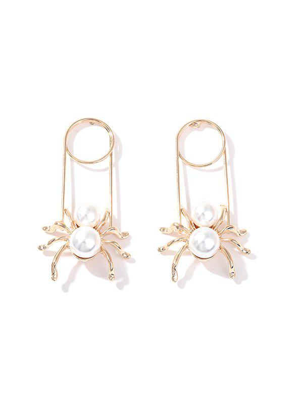 Faux Pearl Alloy Spider Earrings - WHITE