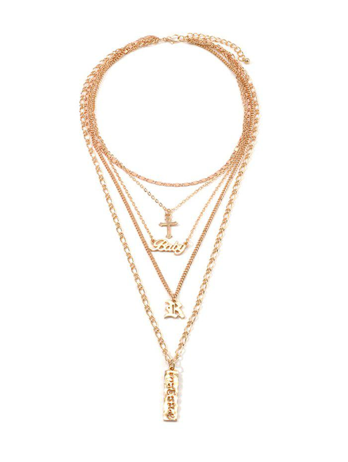 Cross Letter Chain Multilayered Necklace - GOLD