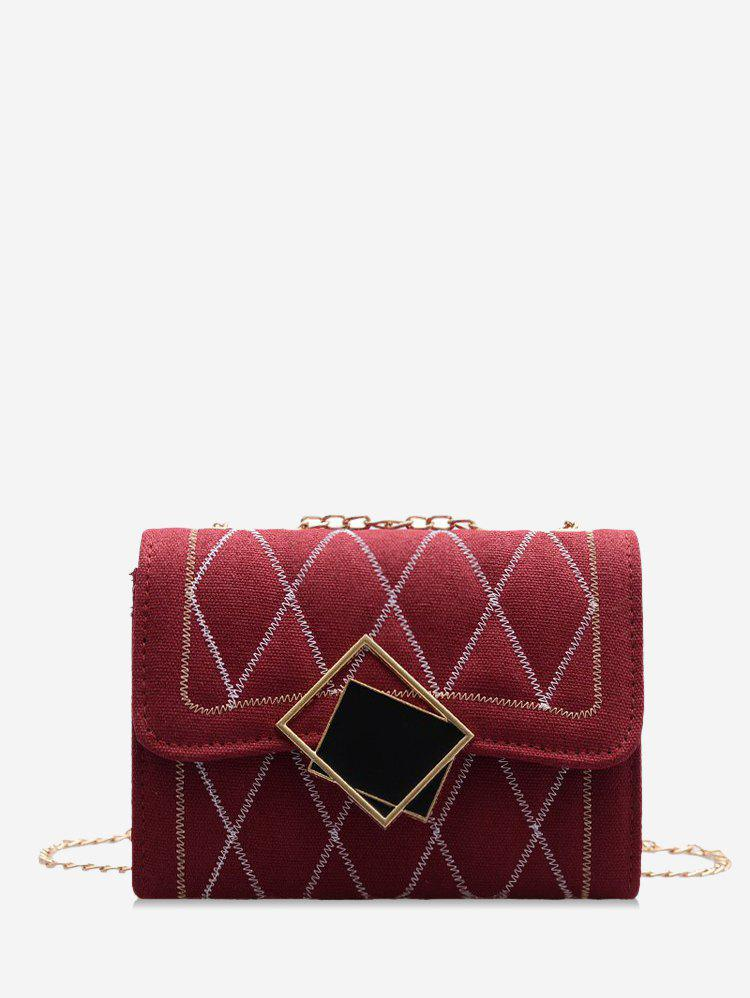 Rhombus Chain Quilted Crossbody Bag - RED WINE