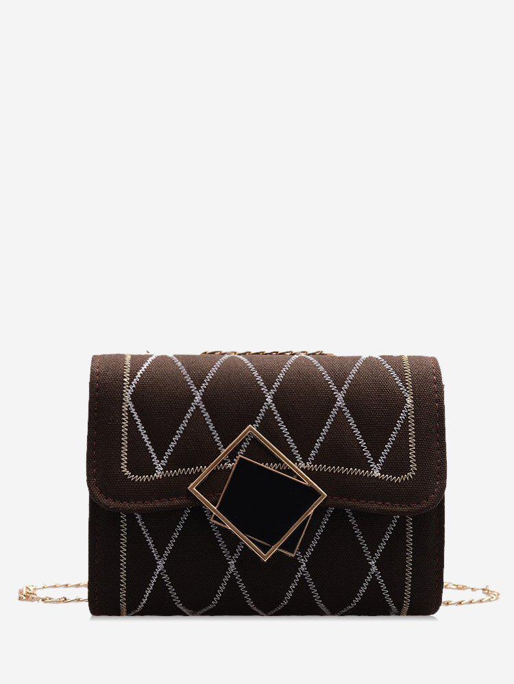 Rhombus Chain Quilted Crossbody Bag - COFFEE